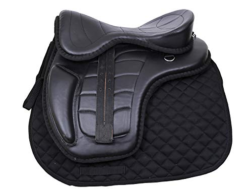 (RAJ INTERNATIONAL Youth Child Synthetic Suede Jumping Pony Miniature Horse Saddle Tack Get Matching Girth, with Saddle Pad, Size 10