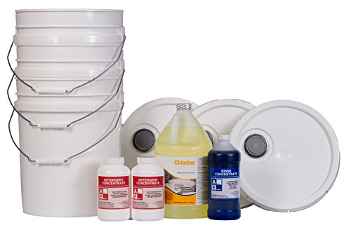 Starter Pack w/buckets (1-detergent, 1-chlorine, 1-rinse), Commercial Grade, by Active Element