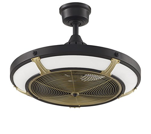 Fanimation Shade (Fanimation Pickett Drum - 24 inch Diameter - Black with Satin Brass accents with LED Shade and Remote - FP6260BLBS)