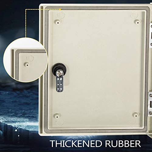 """41M%2B0GmSr5L. AC VEVOR Fiberglass Enclosure 11.8 x 9.8 x 5.5"""" Electrical Enclosure Box NEMA 3X Electronic Equipment Enclosure Box IP65 Weatherproof Wall-Mounted Electrical Enclosure With Hinges & Quarter-Turn Latches     11.8 x 9.8 x 5.5"""" Fiberglass Electrical Enclosure Box The electrical box is molded from durable fiberglass reinforced polyester (FRP). With a sophisticated lock core, high-strength hinge, sealing rubber strip, and IP65 protection level to well-protect the internal electrical in harsh environments. It is ideal for protecting equipment from harsh environments and tampering. It is widely used for indoor and outdoor applications to protect circuits from liquids and corrosion, such as electricity, construction, hotel, and other industries.key Features Fiberglass Reinforced Polyester The electrical box features fiberglass reinforced polyester construction with high toughness, resistance to pressure, corrosion, and rust. The enclosure is impervious to dents. Thickened Dust Lock The inner lock core uses metal to prevent damage caused by excessive force. The durable and reliable cabinet door lock is applied for a convenient opening with longer service life. High Strength Hinge The electrical box adopts reinforced hinges, which will not be damaged if it is repeatedly opened and closed, and ensure that the box door is not easily broken by extrusion. Rubber Sealing Strip The sealing rubber strip is close to the box door with strong sealing performance to prevent dust and raindrops from dripping into the box and causing electricity leakage. IP 65 & Protective The IP65 waterproof design effectively blocks splashing water, rain, dust, snow, oil into the electrical enclosure and causing damage. It keeps your equipment well-protected in harsh environments."""
