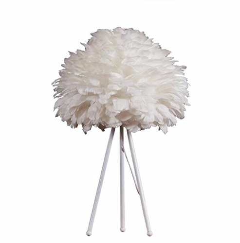 CJSHVR-Table Lamp Nordic style modern creative personality white feather table lamp bedroom living room study bedside art decorative lamps and lanterns