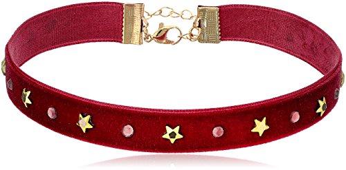 Steve Madden Velvet with Stars Pink Choker Necklace