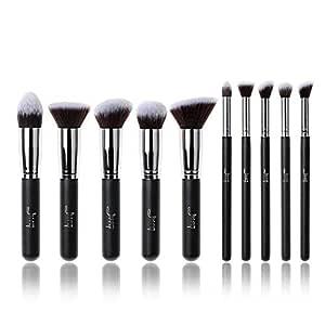 Jessup Professional 10pcs Black/Silver Foundation blush Liquid Kabuki Brush