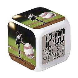 Cointone Led Alarm Clock Baseball Sport Design Creative Desk Table Clock Glowing Electronic Colorful Digital Alarm