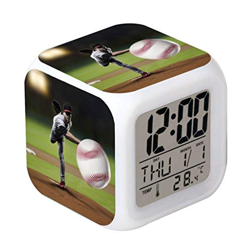 Cointone Led Alarm Clock Baseball Sport Design Creative Desk Table Clock Glowing Electronic colorful Digital Alarm Clock for Unisex Adults Kids Toy Birthday Present Gift (Sport Digital Alarm Clock)