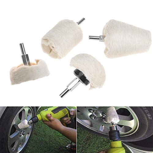 White Flannelette Polishing Pad Kit Auto Buffing Wheel Flannelette Polisher Tools [4Pcs] by Dade
