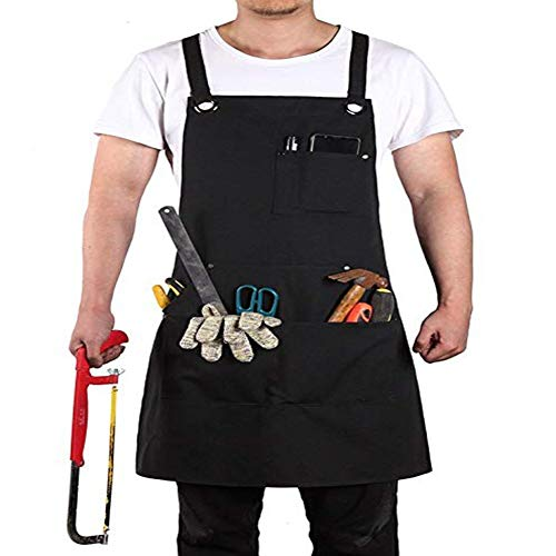 RANRANHOME Work Apron,Waxed Canvas Tool Apron,Shop Apron with Tool Pockets,Quick Release Buckle & Dual Hammer Loops, Adjustable M to XXL (Black)