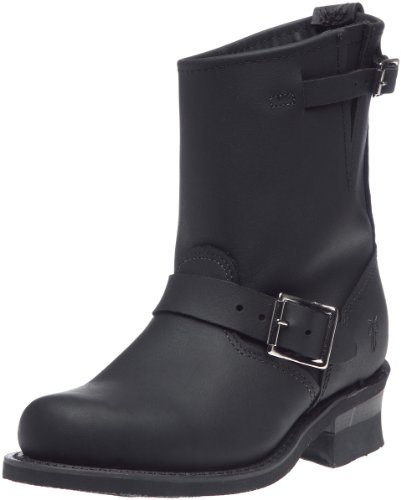 FRYE Women's Engineer 8R Ankle Boot, Black Greasy, 7 M US (Frye Engineer)