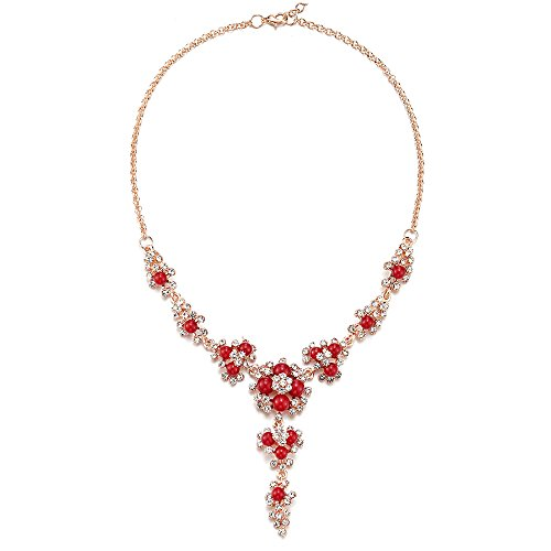 iMECTALII Red Statement Necklace Gem Stone Flower Floral Drop Dangle Filigree Pendant Y-Shape Chain Bridal