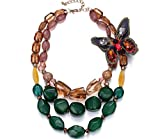 Libaraba 3-Row Resin Butterfly Beads Necklace with Jewelry Box,Short Butterfly Necklace for Women (Multicolor)