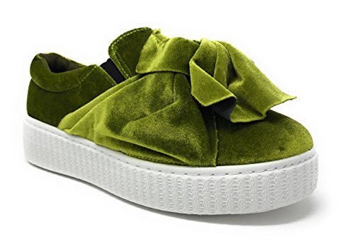 Pink Label Women's Velvet Slip-On Fashion Sneaker With Chic Bow In Green Size: 8 (Designer Fashion Heel)