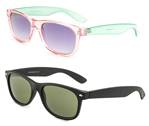 Matte Black Frame Green Lenses - Matte Black Frame/Green Lens and Transparent Pink and Green Frame/ Grey Lens