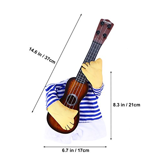 Picture of UEETEK Pet Clothes Funny Singer Puppy Costume Dog Cat Playing Guitar Fancy Costume Halloween Coslay Party Christmas Gift Size M For Dog Within 5kg