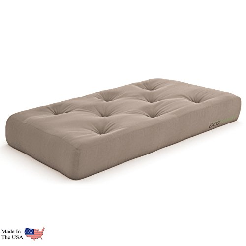 - Plush, Comfortable 8-Inch Chair Futon Mattress, Microfiber Khaki - Made in USA