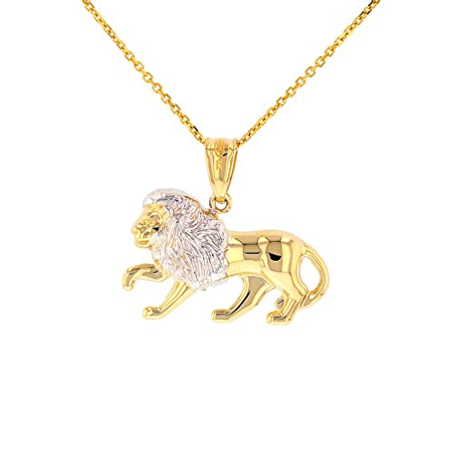High Polish 14k Gold Lion Pendant Leo Zodiac Sign Charm Necklace, - Leo Charm Pendant