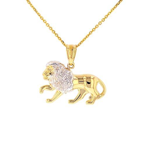 High Polish 14k Gold Lion Pendant Leo Zodiac Sign Charm Necklace, - Pendant Charm Leo