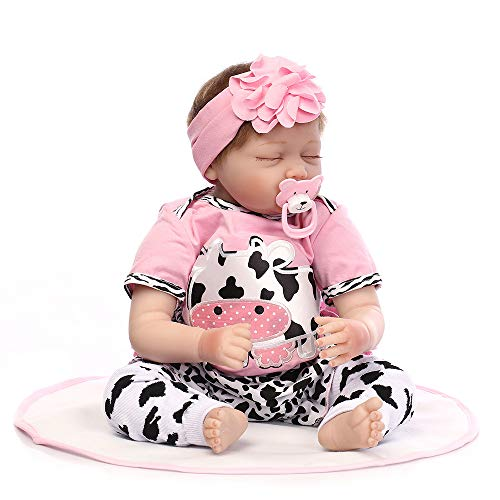 Birdfly Type:49 Reborn Black Toddler Smile Baby Doll with Cow Pattern Dress Lifelike Toy (multicolor)