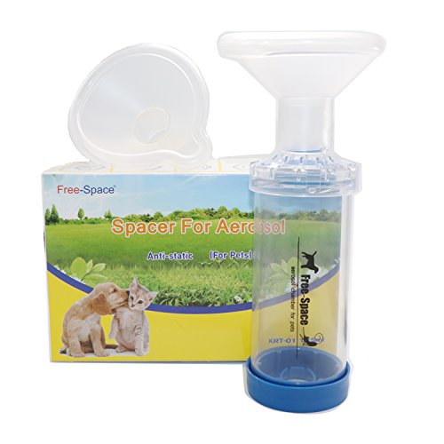 Free-Space Cat/Dog Inhaler Spacer,Feline/Cannie Aerosol Chamber Inhaler for Cats/Dogs,Come with 2 Size Mask and Instruction (Two Mask)