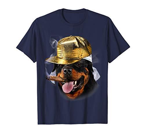(Rapper Rottweiler Dog in Hip Hop Baseball Cap, Cigar T-Shirt)