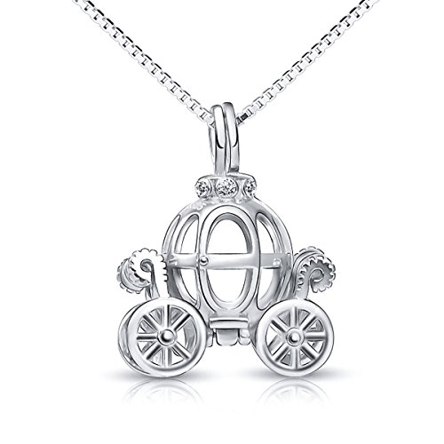 "925 Sterling Silver Pumpkin Carriage Pendant Necklace,18"",Box Chain"