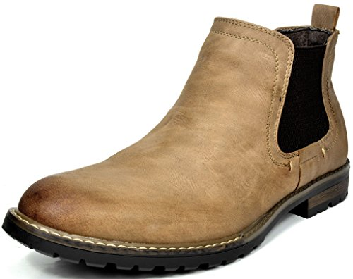 - Bruno Marc Men's Philly-2 Khaki Leather Lined Chelsea Dress Ankle Boots - 14 M US