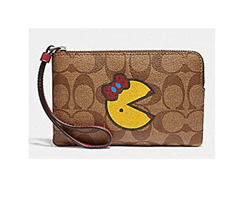 Patchwork Wristlet Purse - Coach Ms Pac Man Signature Corner Zip Wristlet Wallet Bag