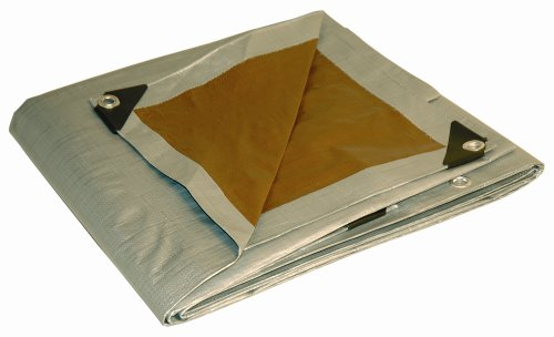 - 26x40 Multi-Purpose Silver/Brown Heavy Duty DRY TOP Poly Tarp (26'x40')