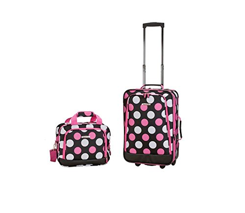 2 Piece Pretty Girls Polka Dot Themed Luggage Set,Pink Dots Rolling Carry On Bag (Luggage Polka Rolling White Dot)