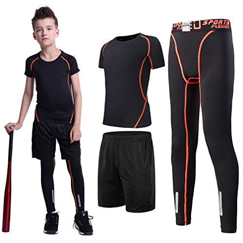 (Tesuwel 2/3/4/5 Pcs Boys Girls Athletic Compression Pants and Shirts Base Layer Running Tights Leggings)