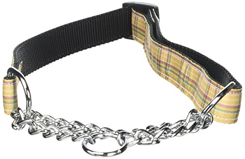 Mirage Pet Products Martingale Plaid Nylon Collar, Large, Khaki