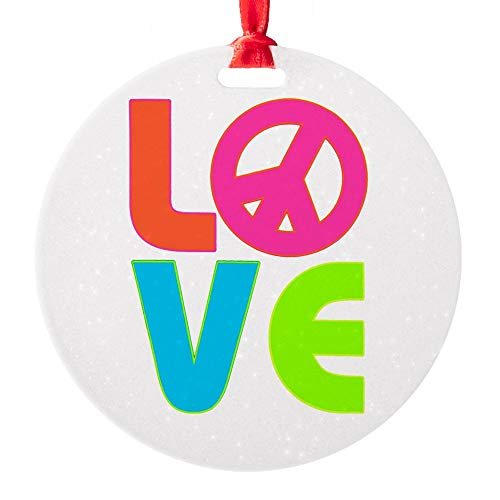 (Round Ornament Neon Love with Peace Symbol Sign)