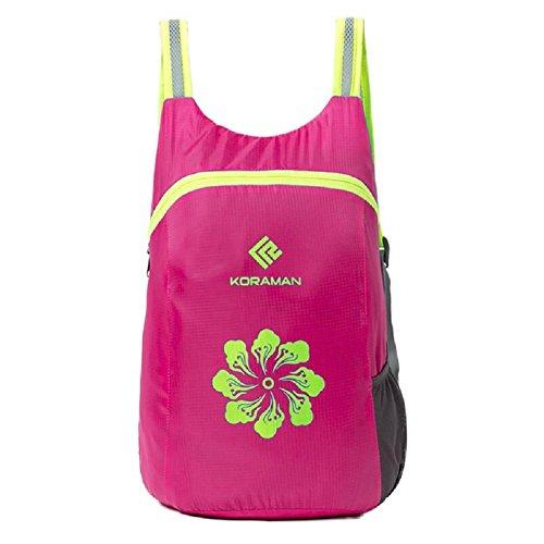 Z&N Poliéster impermeable hombres y mujeres mochila de deportes al aire libre bolsa ligera paquetes de secado rápido plegable mochila de viaje impermeable de montaña mochila de senderism Backpackblack Rose red