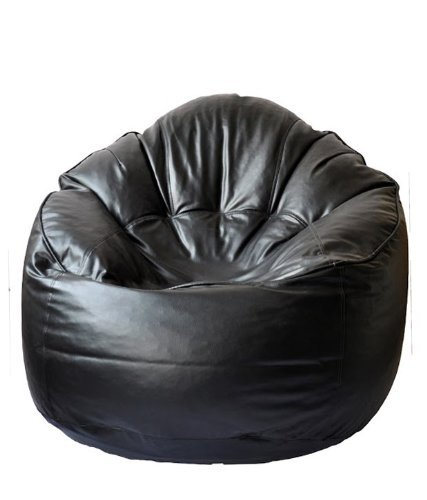 Cozy Signature Comfort Bean Bag Cover Without Bean Black Leather Sofa Chair Living Room Smooth Bean Bag Home ()