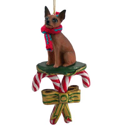 Miniature Pinscher Min Pin Brown Red Dog Candy Cane Christmas Holiday Ornament