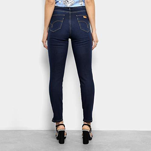 Calça Jeans Skinny Lez A Lez Estonada Cintura Média Feminina - Azul Escuro - 36