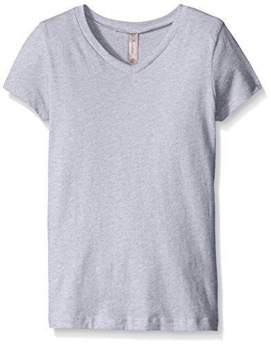 Clementine Apparel Girls' Big Everyday Short-Sleeve Princess V-Neck Tee, Heather Grey ()