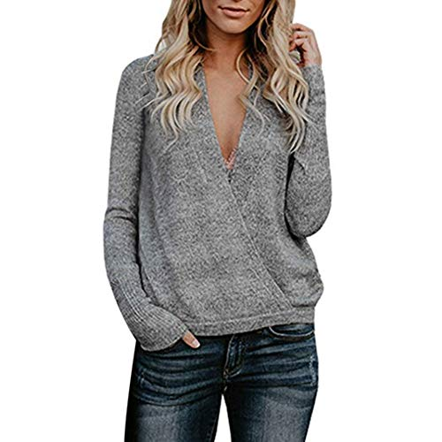 NREALY Women's Knitwear Loose Floral Daily Long Sleeve Tops(XL, Y_Gray) for $<!--$9.50-->