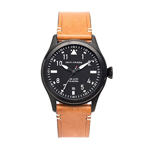 Jack Mason Men's Watch Aviator Tan Italian Leather strap JM-A101-005 by Jack Mason