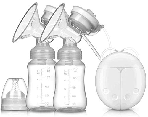 Double Breast Pump, Portable Breast Pump with Adjustable Suction & Pumping Levels for Mom's Comfort White BE17