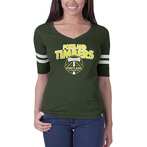 MLS Portland Timbers Women's '47 Brand Flanker Stripe Tee, Bottle Green, - Portland Brand