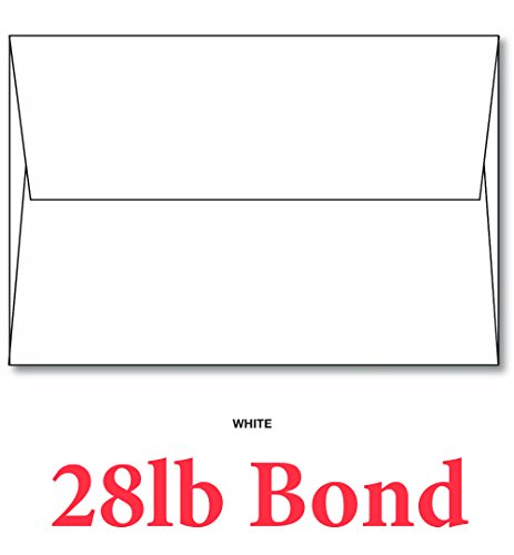 "White A7 Envelopes 28lb/70lb (5 1/4"" X 7 1/4"") - 50 Envelopes - Superfine Printing Inc. Brand"