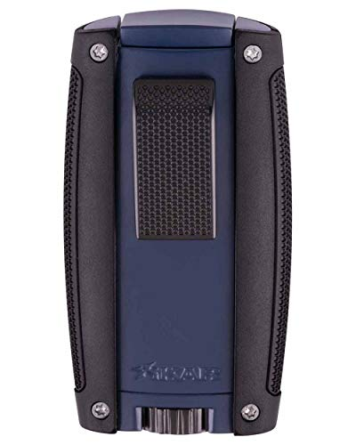 - Turismo Double Flame Cigar Lighter in an Attractive Gift Box Lifetime Warranty Matte Blue