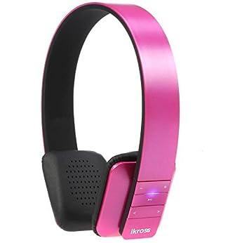 iKross Bluetooth 4.0 Auriculares Estéreo Rosa con Bolsa Funda para Apple iPhone, iPod, Samsung