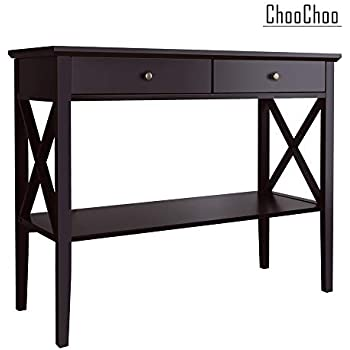ChooChoo Console Sofa Table Classic X Design with 2 Drawers, Entryway Hall Table, Accent Table Easy Assembly (Espresso)