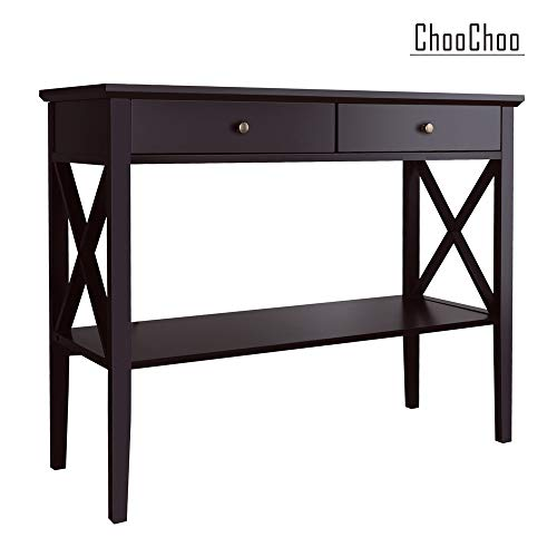 - ChooChoo Console Sofa Table Classic X Design with 2 Drawers, Entryway Hall Table, Accent Table Easy Assembly (Espresso)