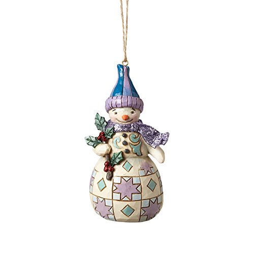 Country Snowman Ornament (Enesco-Gift 4058750 Wonderland Snowman with Holly Ornament)