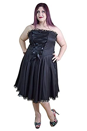 Skelapparel Plus Size Gothic Rockabilly Black Satin Corset Lace Up