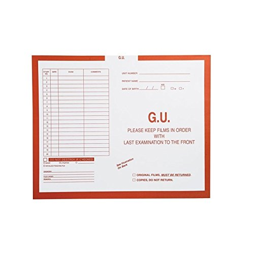 G.U. (Genito-Urinary), Orange #165 - Category Insert Jackets, System I, Open Top - 14-1/4'' x 17-1/2'' (Carton of 250)