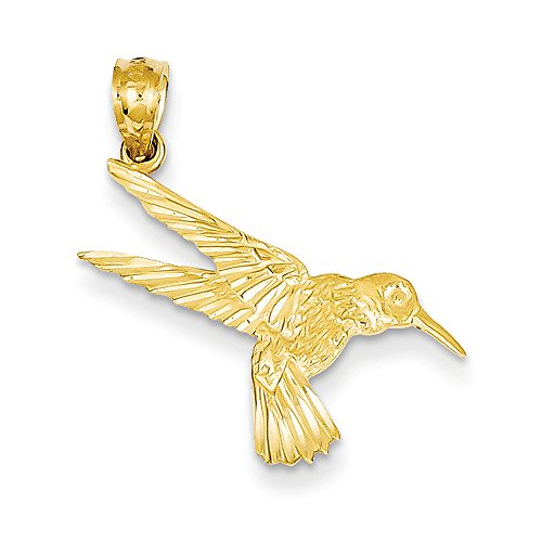 Diamond Hummingbird Pendant (14k Yellow Gold Diamond Cut Hummingbird Pendant, 13mm (1/2 inch))