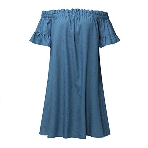 In Pizzo Jeans vintage Alla Scollo Barchetta Lungo Donna Moda Lunghe abito Vestiti A Con Coctel Sera Forti gonne Azzurro Elegante Da Taglie Yanhoo Camicie Denim Vestito Abito Di q8Aw1fAC